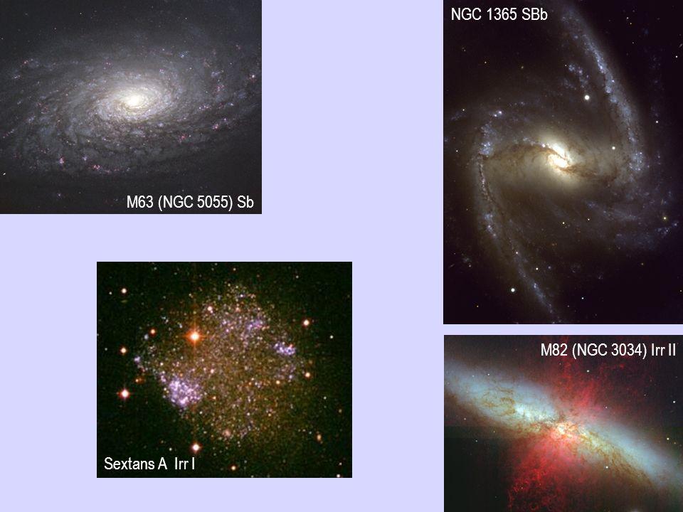 NGC 1365 SBb M63 (NGC 5055) Sb M82 (NGC 3034) Irr II Sextans A Irr I