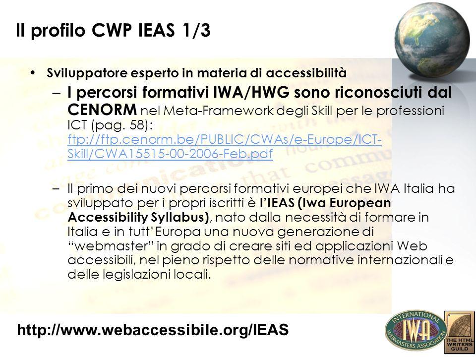 Il profilo CWP IEAS 1/3 Sviluppatore esperto in materia di accessibilità.