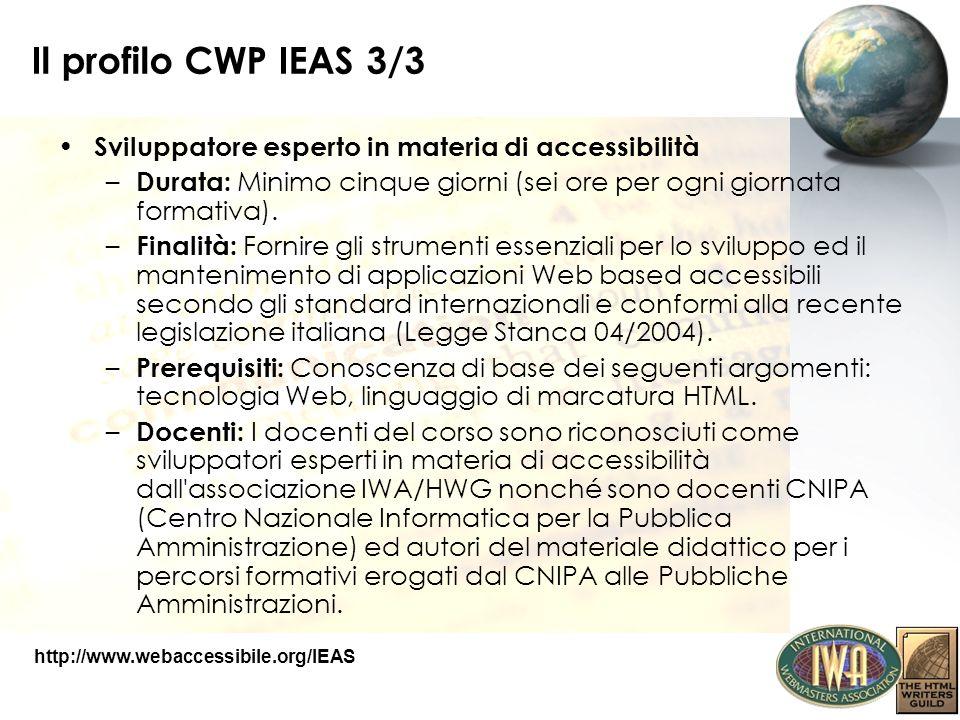 Il profilo CWP IEAS 3/3 Sviluppatore esperto in materia di accessibilità. Durata: Minimo cinque giorni (sei ore per ogni giornata formativa).