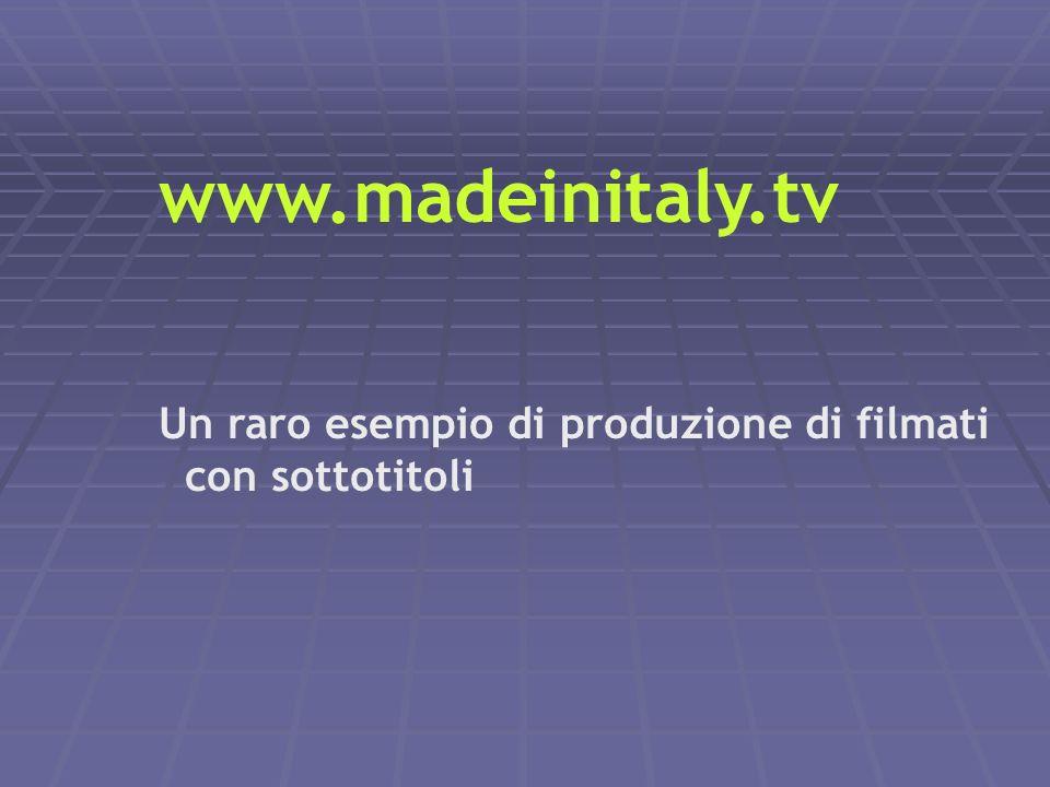 www.madeinitaly.tv Un raro esempio di produzione di filmati con sottotitoli. Convegno - Co.Re.Com. Friuli Venezia Giulia.