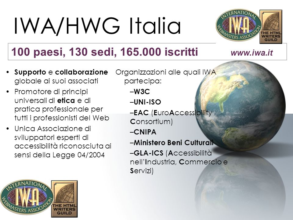 IWA/HWG Italia 100 paesi, 130 sedi, 165.000 iscritti www.iwa.it