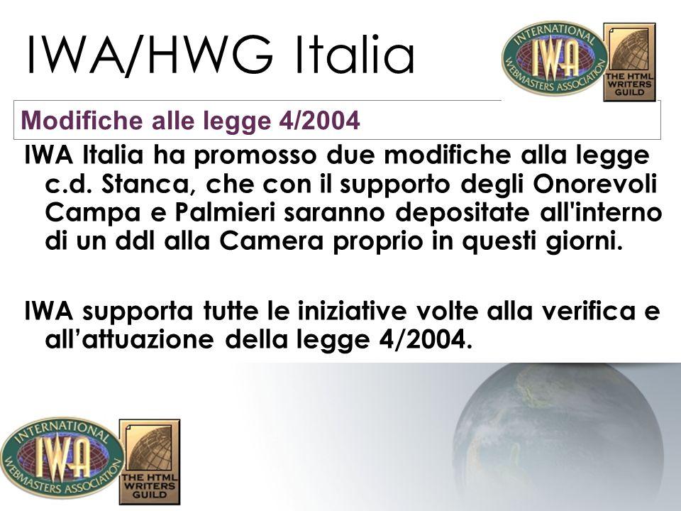 IWA/HWG Italia Modifiche alle legge 4/2004
