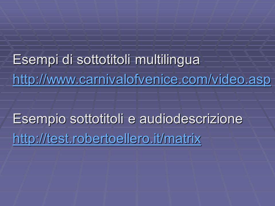 Esempi di sottotitoli multilingua