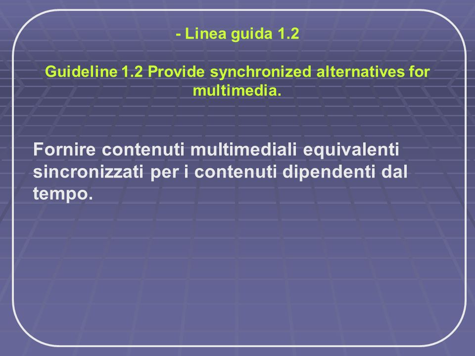 Guideline 1.2 Provide synchronized alternatives for multimedia.