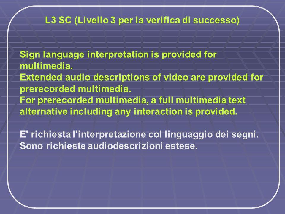 L3 SC (Livello 3 per la verifica di successo)