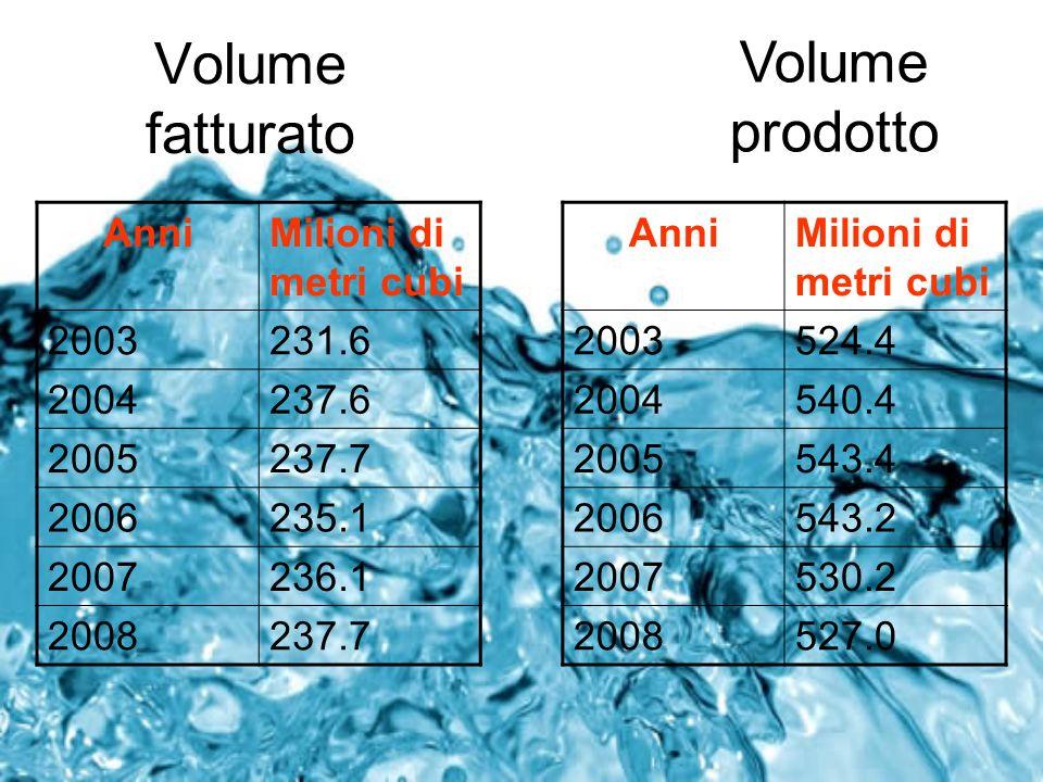 Volume fatturato Volume prodotto Anni Milioni di metri cubi 2003 231.6