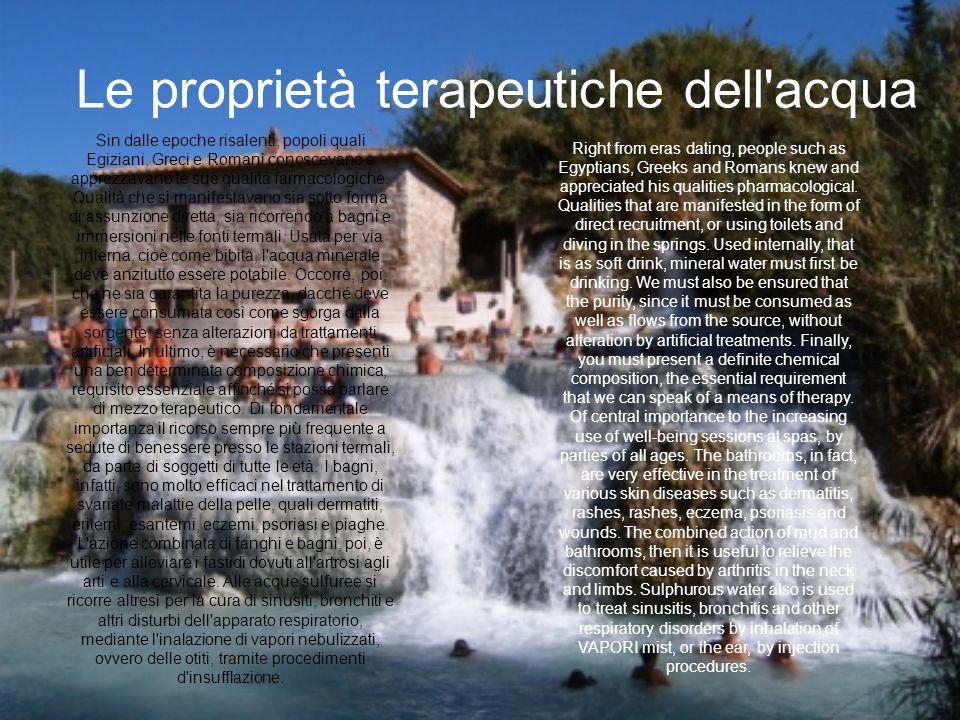 Le proprietà terapeutiche dell acqua