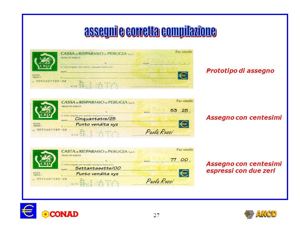 assegni e corretta compilazione