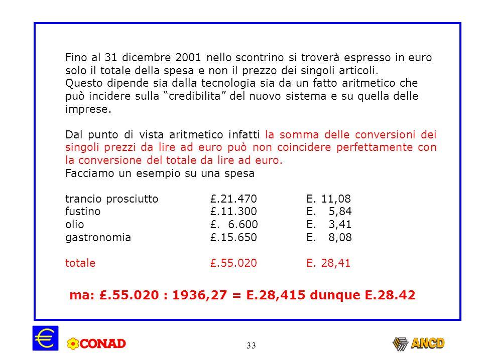 Fino al 31 dicembre 2001 nello scontrino si troverà espresso in euro solo il totale della spesa e non il prezzo dei singoli articoli.