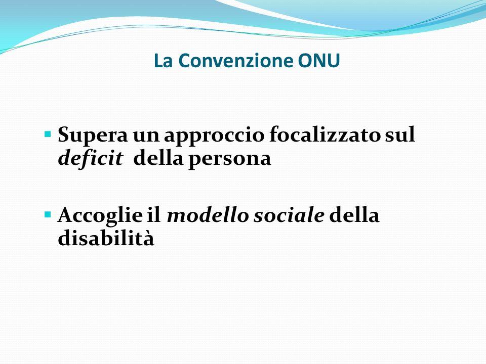 La Convenzione ONU Supera un approccio focalizzato sul deficit della persona.