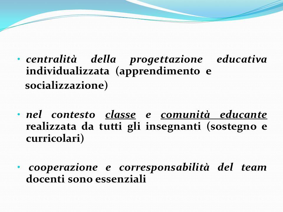centralità della progettazione educativa individualizzata (apprendimento e
