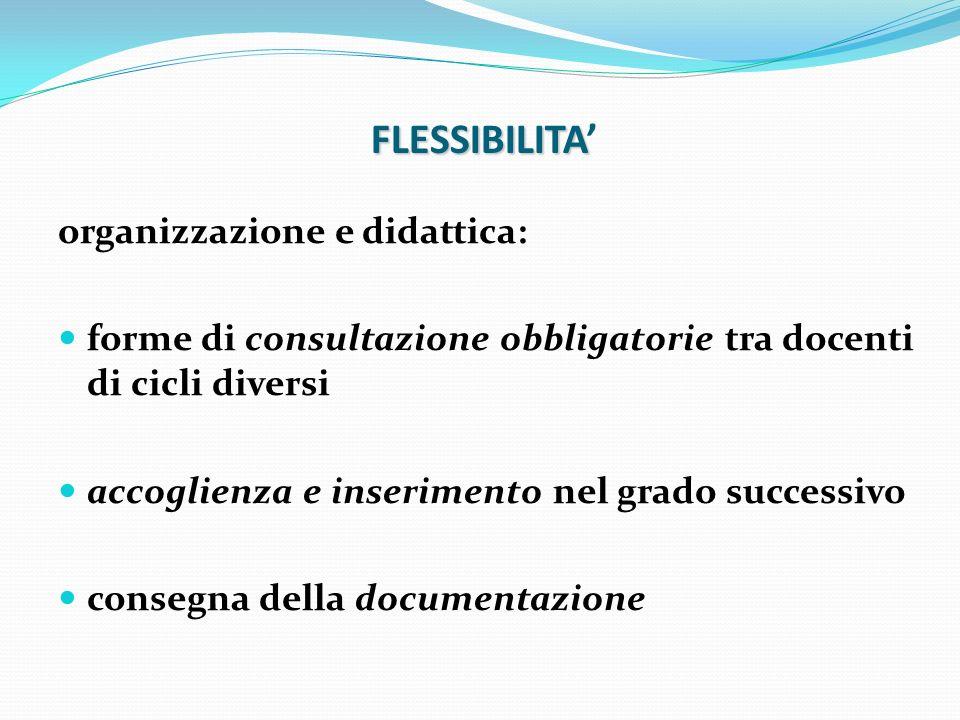 FLESSIBILITA' organizzazione e didattica: