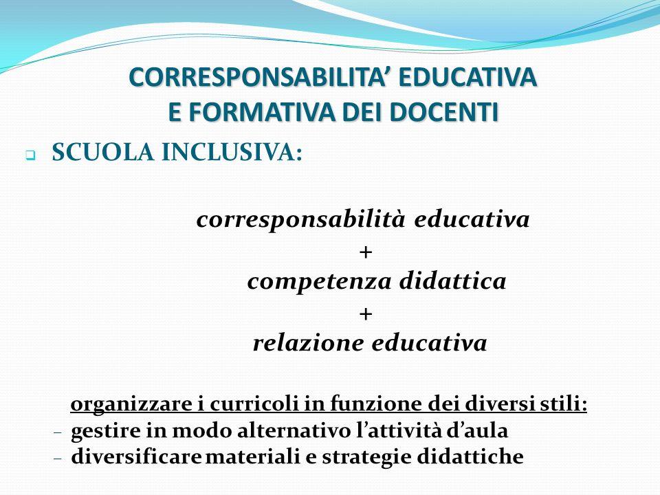CORRESPONSABILITA' EDUCATIVA E FORMATIVA DEI DOCENTI