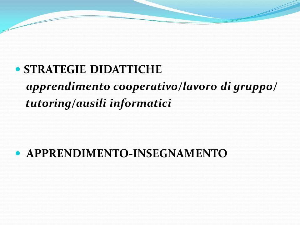 STRATEGIE DIDATTICHEapprendimento cooperativo/lavoro di gruppo/ tutoring/ausili informatici.