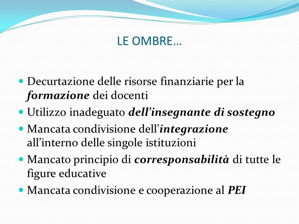 LE OMBRE… Decurtazione delle risorse finanziarie per la formazione dei docenti. Utilizzo inadeguato dell'insegnante di sostegno.