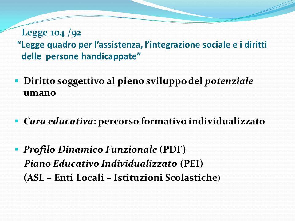 Legge 104 /92 Legge quadro per l'assistenza, l'integrazione sociale e i diritti delle persone handicappate