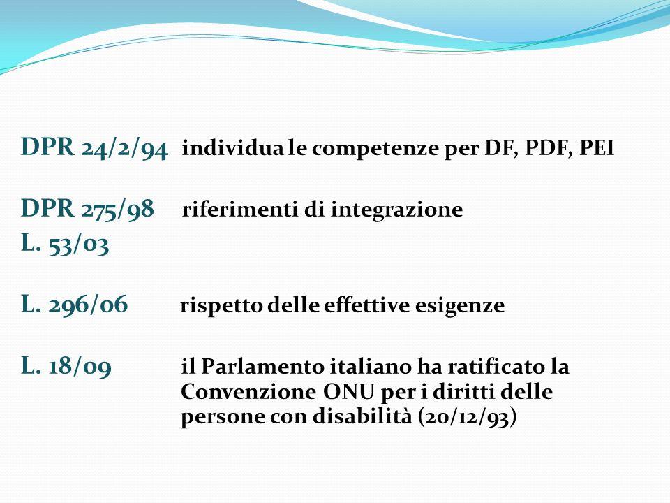 DPR 24/2/94 individua le competenze per DF, PDF, PEI