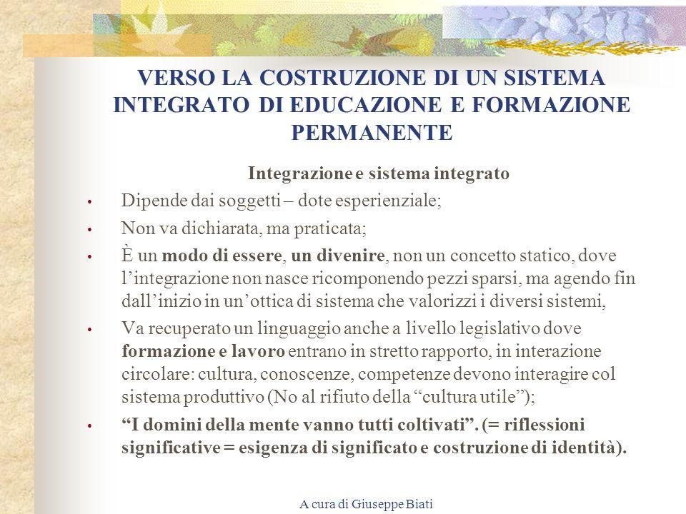 VERSO LA COSTRUZIONE DI UN SISTEMA INTEGRATO DI EDUCAZIONE E FORMAZIONE PERMANENTE