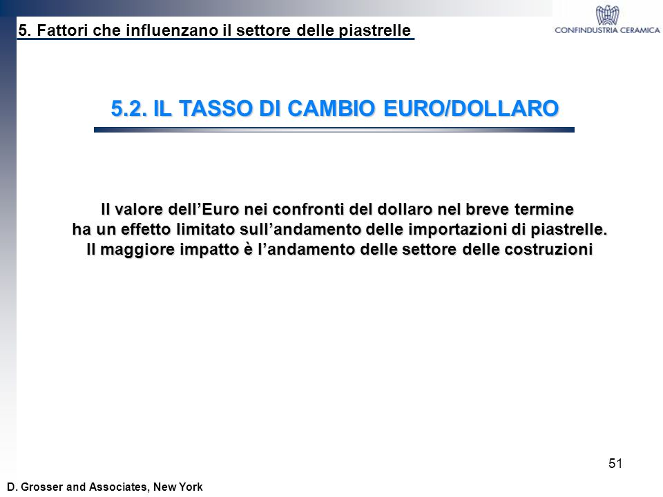 5.2. IL TASSO DI CAMBIO EURO/DOLLARO