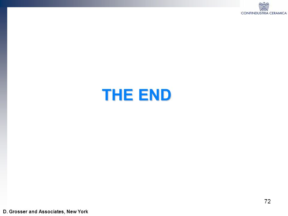 THE END D. Grosser and Associates, New York