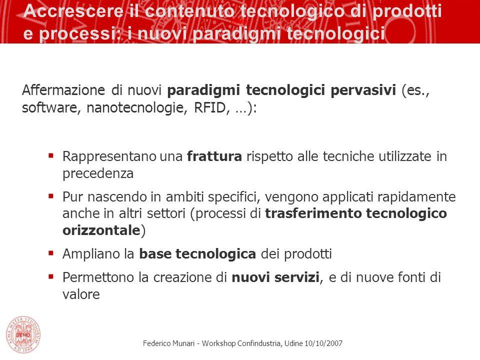 Accrescere il contenuto tecnologico di prodotti e processi: i nuovi paradigmi tecnologici