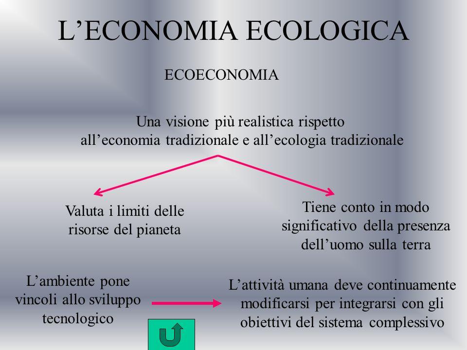 L'ECONOMIA ECOLOGICA ECOECONOMIA Una visione più realistica rispetto