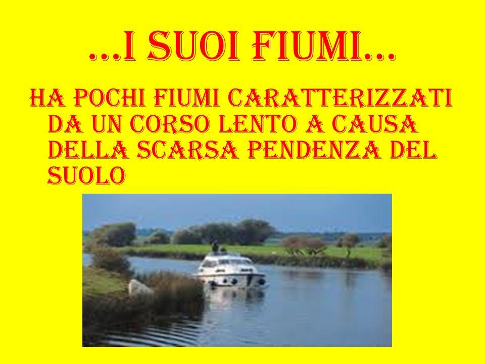 …I suoi fiumi…Ha pochi fiumi caratterizzati da un corso lento a causa della scarsa pendenza del suolo.