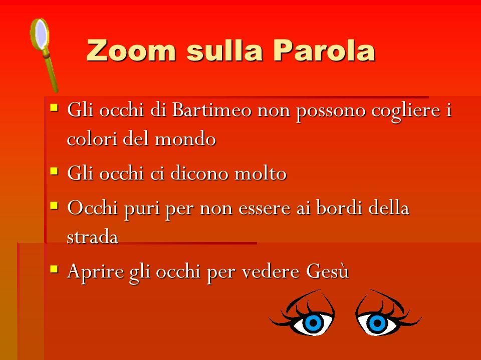 Zoom sulla Parola Gli occhi di Bartimeo non possono cogliere i colori del mondo. Gli occhi ci dicono molto.