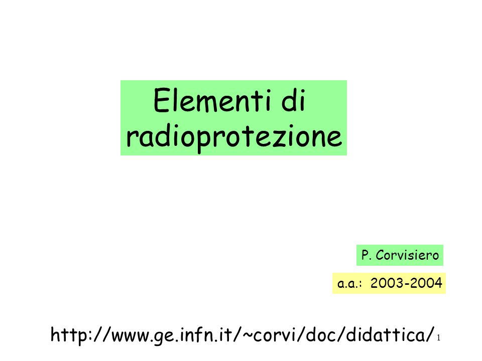 Elementi di radioprotezione