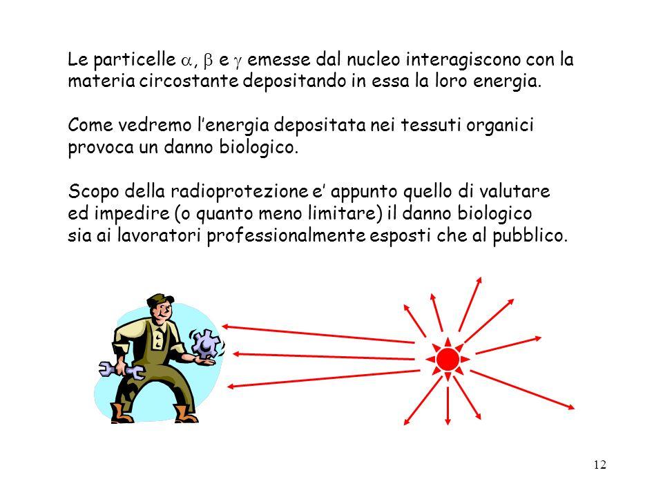 Le particelle ,  e  emesse dal nucleo interagiscono con la