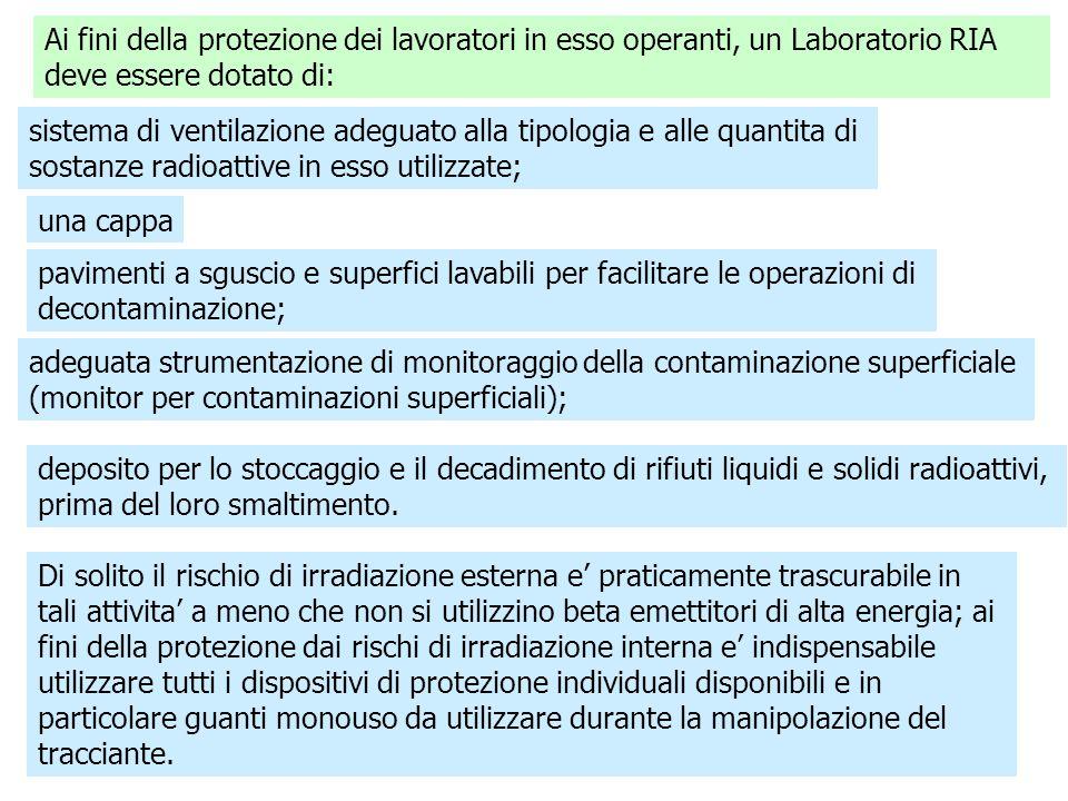 Ai fini della protezione dei lavoratori in esso operanti, un Laboratorio RIA deve essere dotato di:
