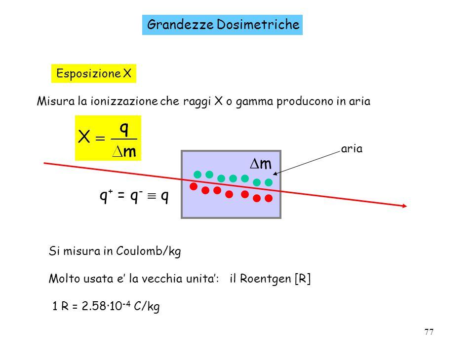 m q+ = q-  q Grandezze Dosimetriche Esposizione X
