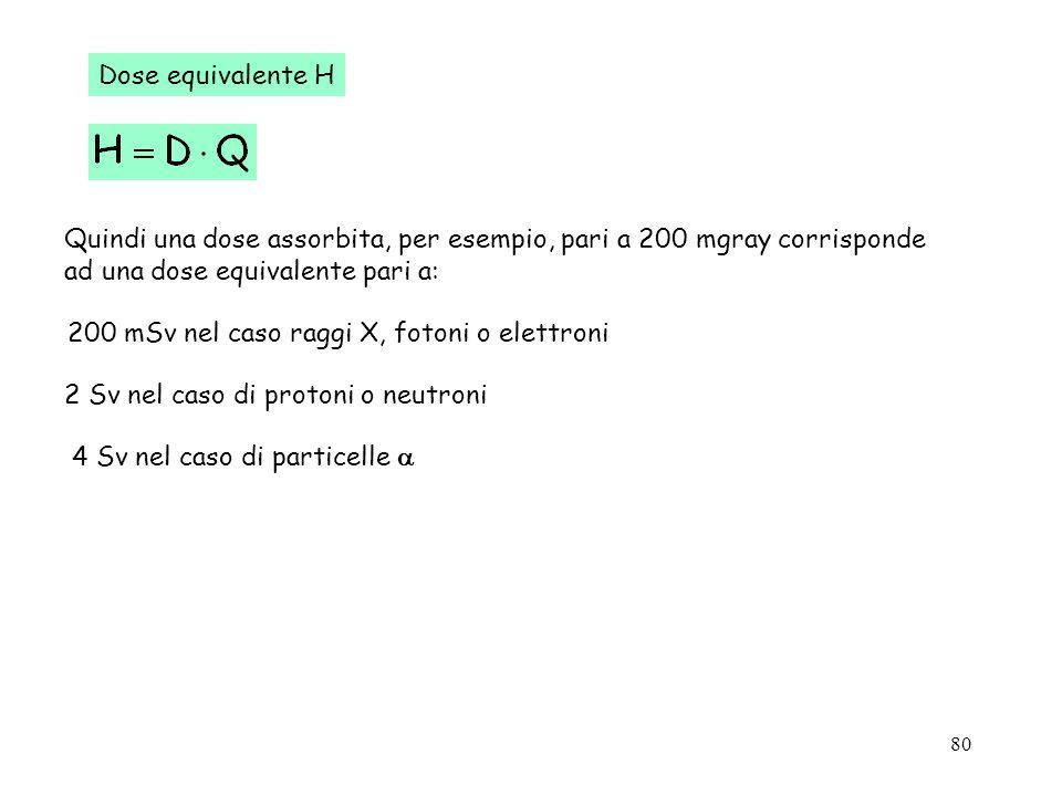 Dose equivalente HQuindi una dose assorbita, per esempio, pari a 200 mgray corrisponde. ad una dose equivalente pari a: