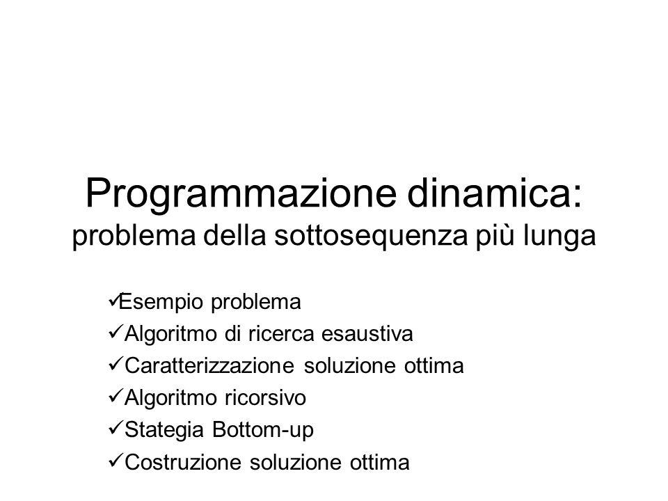 Programmazione dinamica: problema della sottosequenza più lunga