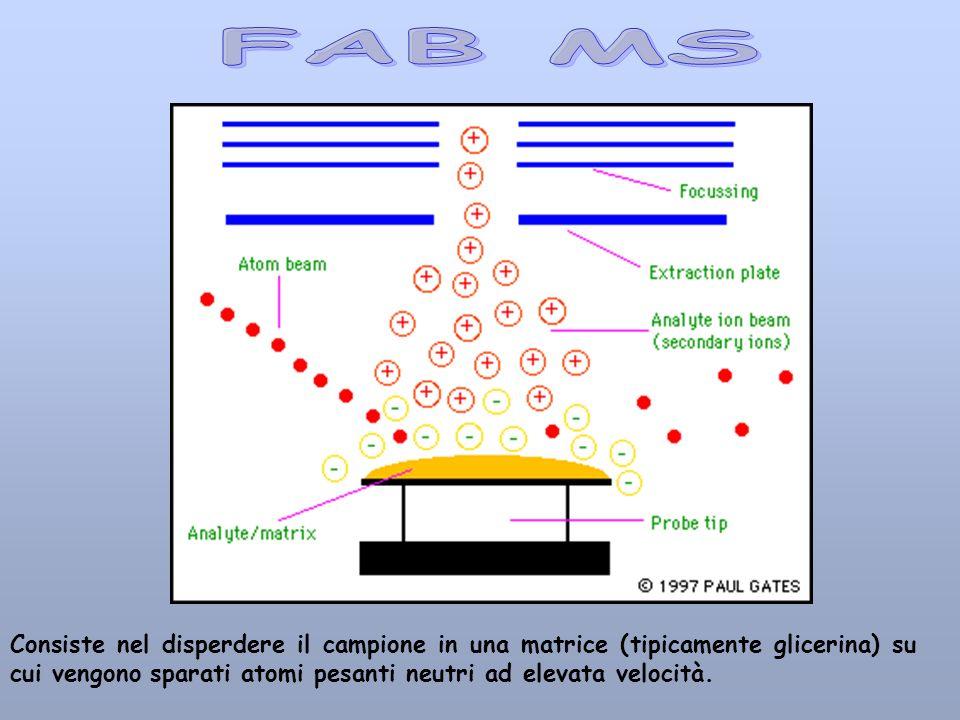 FAB MS Consiste nel disperdere il campione in una matrice (tipicamente glicerina) su cui vengono sparati atomi pesanti neutri ad elevata velocità.