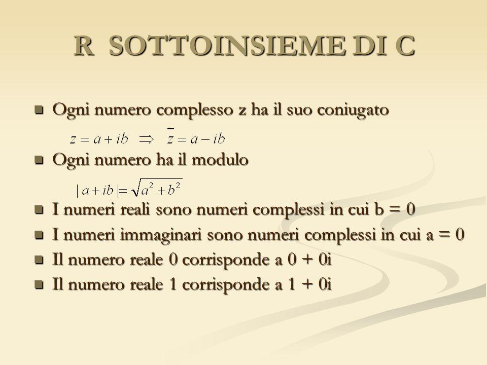 R SOTTOINSIEME DI C Ogni numero complesso z ha il suo coniugato