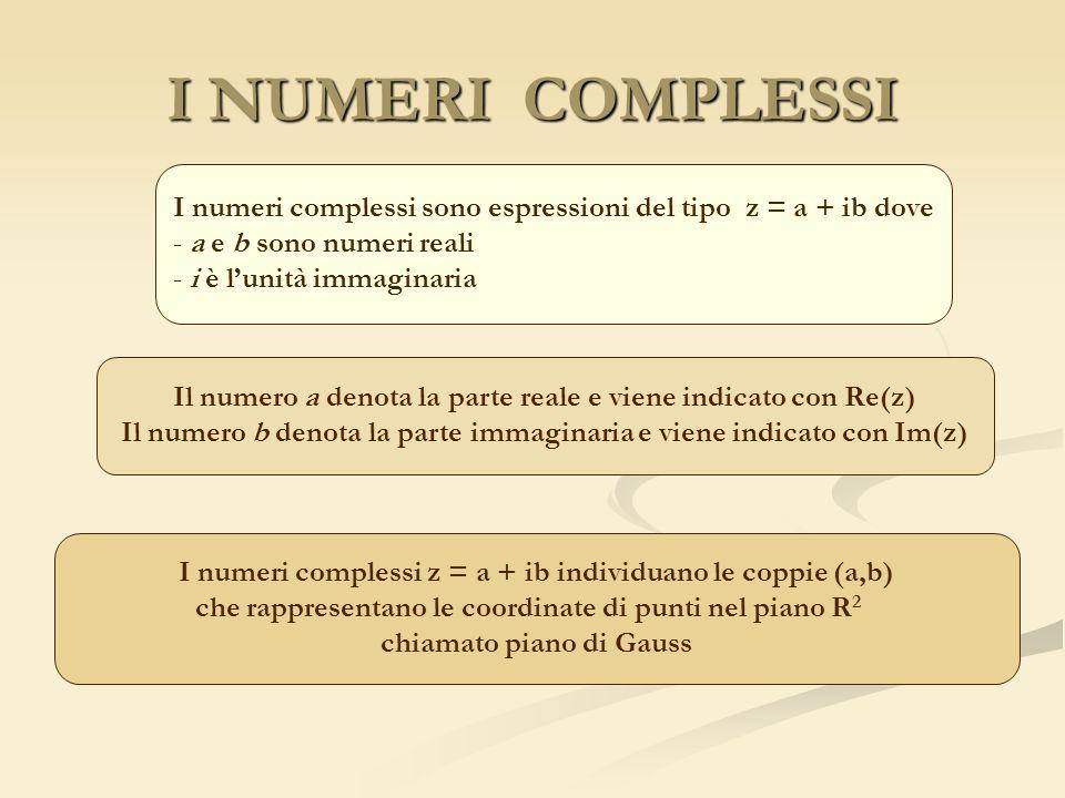 I NUMERI COMPLESSI I numeri complessi sono espressioni del tipo z = a + ib dove. a e b sono numeri reali.