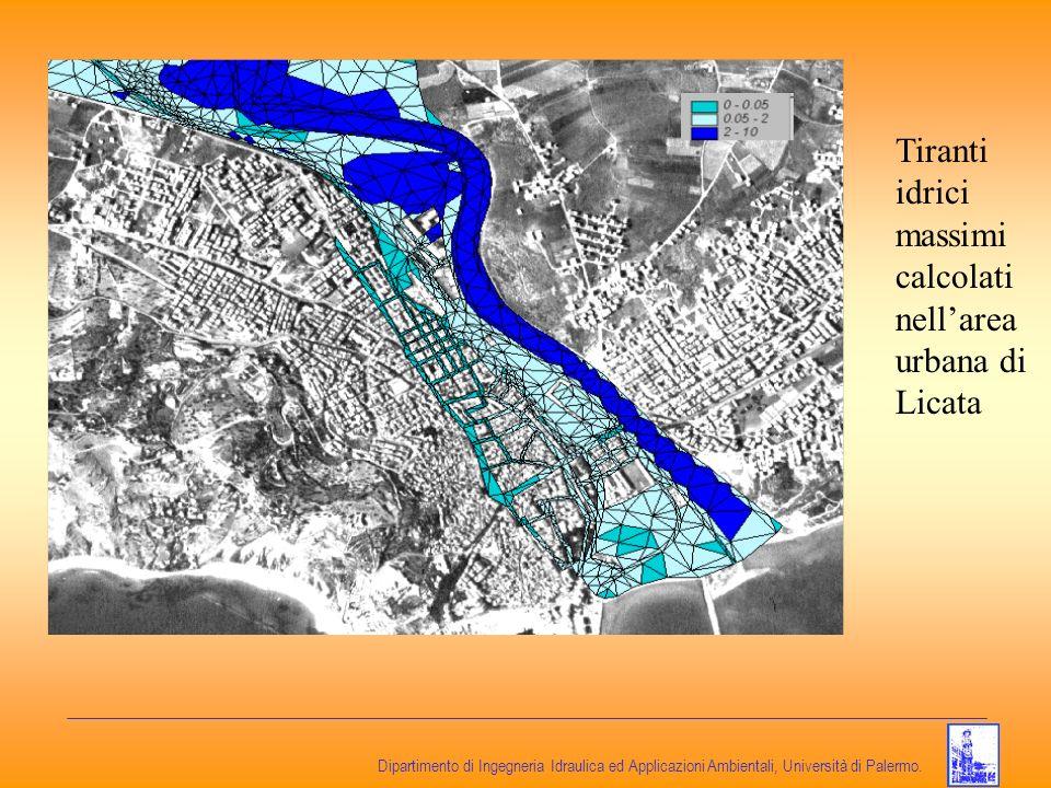 Tiranti idrici massimi calcolati nell'area urbana di Licata