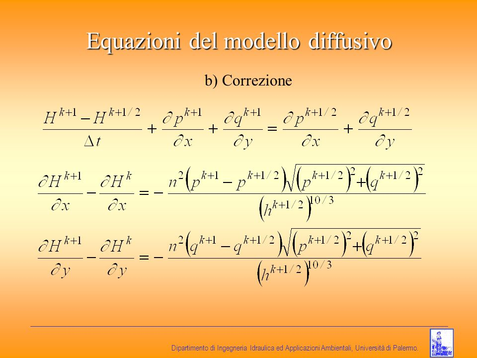 Equazioni del modello diffusivo