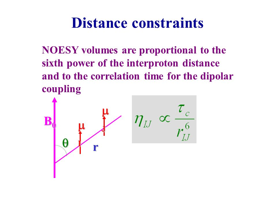 Distance constraints mJ B0 mI q r