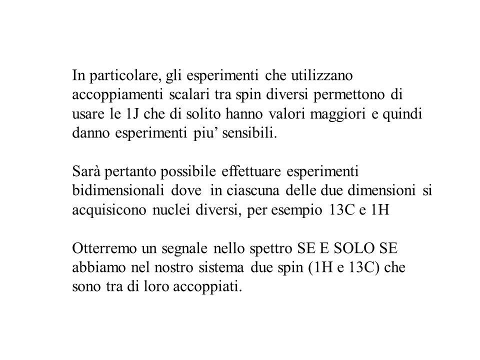 In particolare, gli esperimenti che utilizzano accoppiamenti scalari tra spin diversi permettono di usare le 1J che di solito hanno valori maggiori e quindi danno esperimenti piu' sensibili.