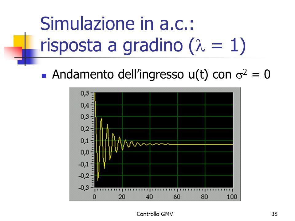Simulazione in a.c.: risposta a gradino (l = 1)