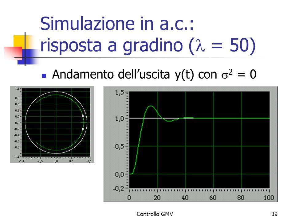 Simulazione in a.c.: risposta a gradino (l = 50)