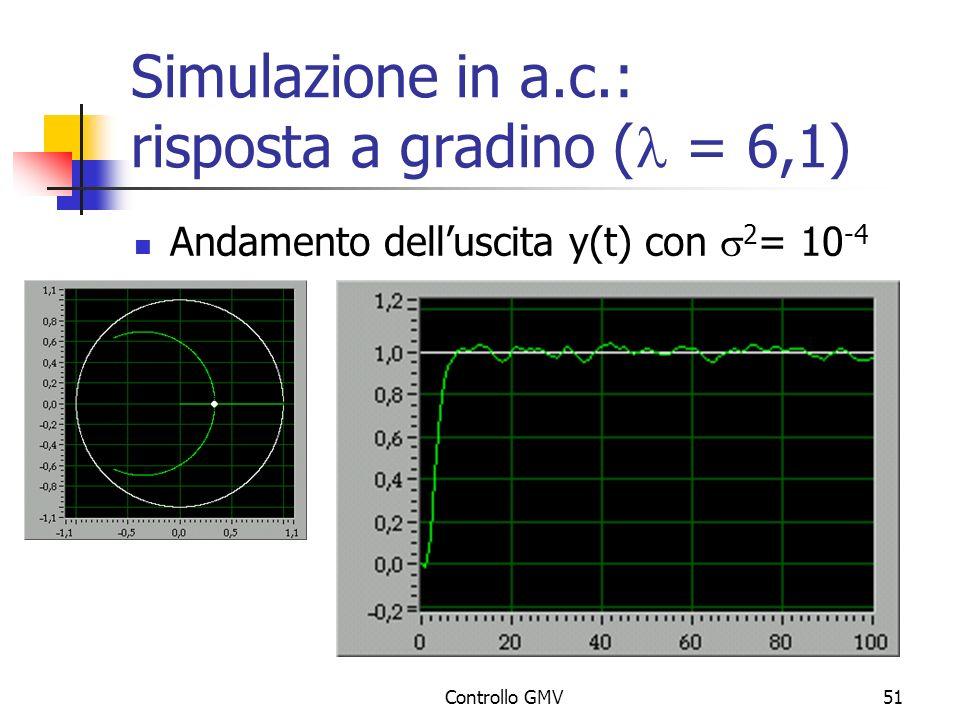 Simulazione in a.c.: risposta a gradino (l = 6,1)