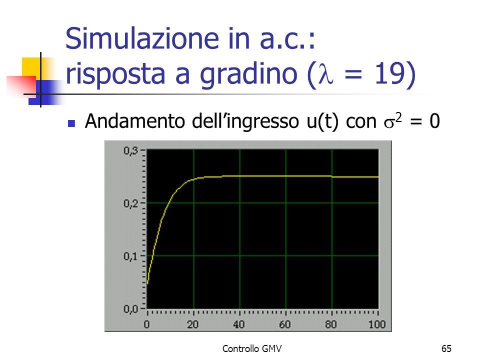 Simulazione in a.c.: risposta a gradino (l = 19)