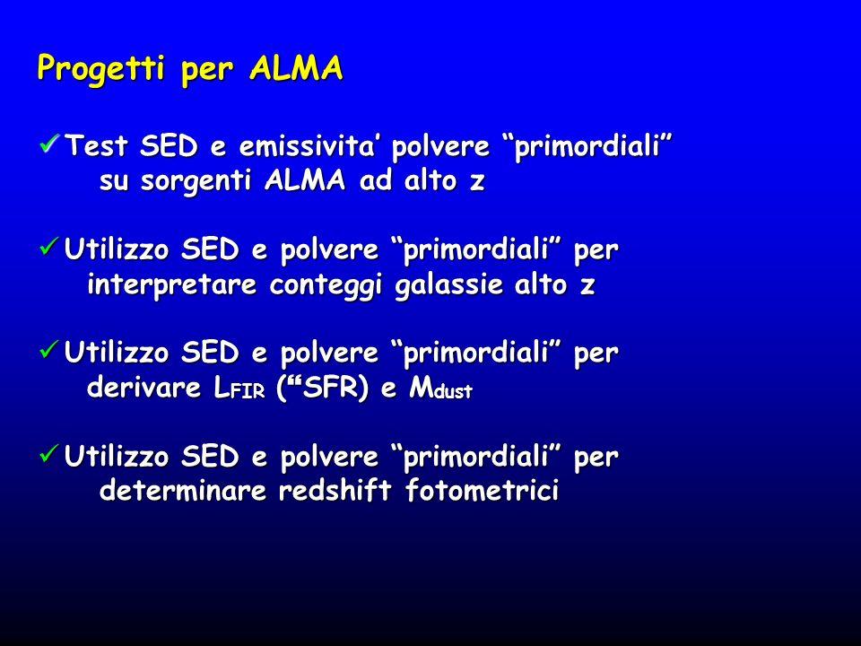 Progetti per ALMA Test SED e emissivita' polvere primordiali