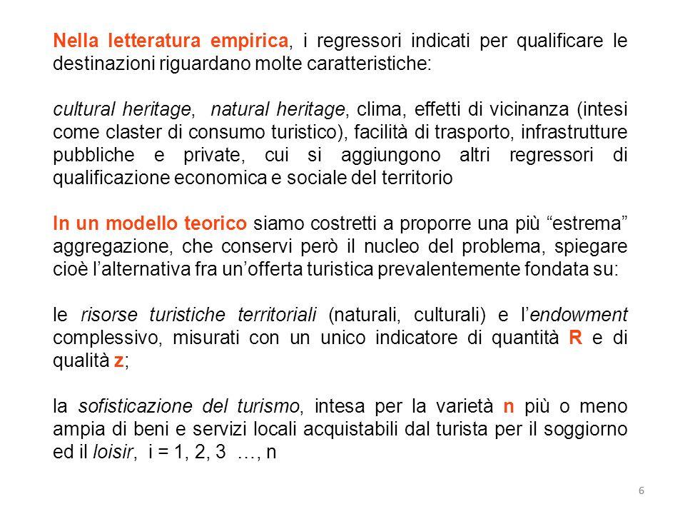 Nella letteratura empirica, i regressori indicati per qualificare le destinazioni riguardano molte caratteristiche: