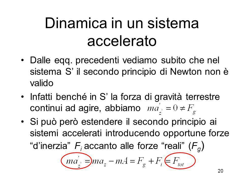 Dinamica in un sistema accelerato