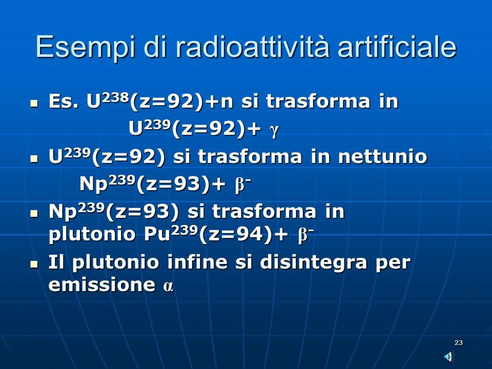 Esempi di radioattività artificiale