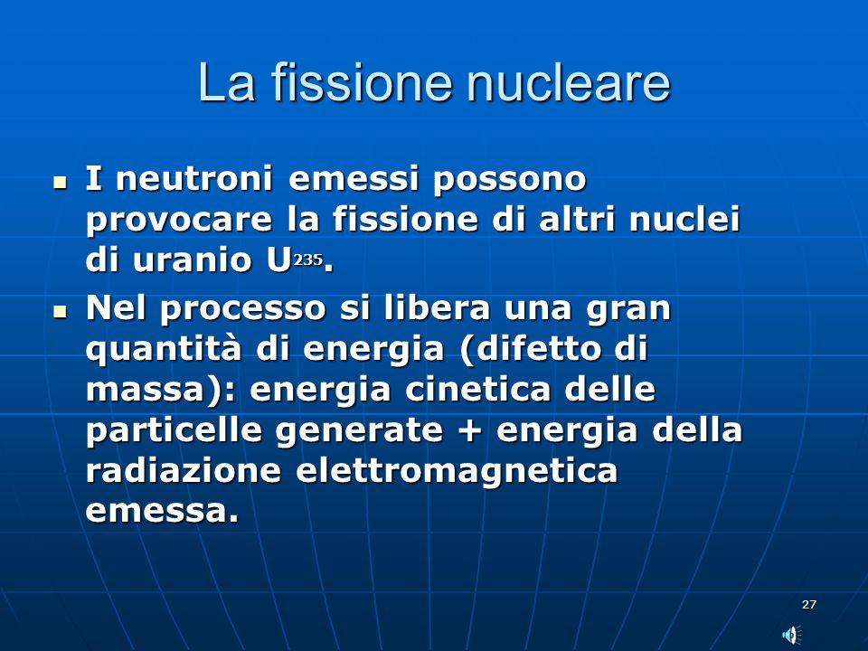 La fissione nucleare I neutroni emessi possono provocare la fissione di altri nuclei di uranio U235.